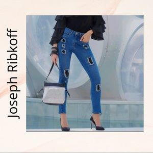 JOSEPH RIBKOFF Distressed High Waisted Jeans 191981 with Patches size 8